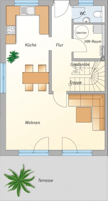 Doppelhaus Erdgeschoss links
